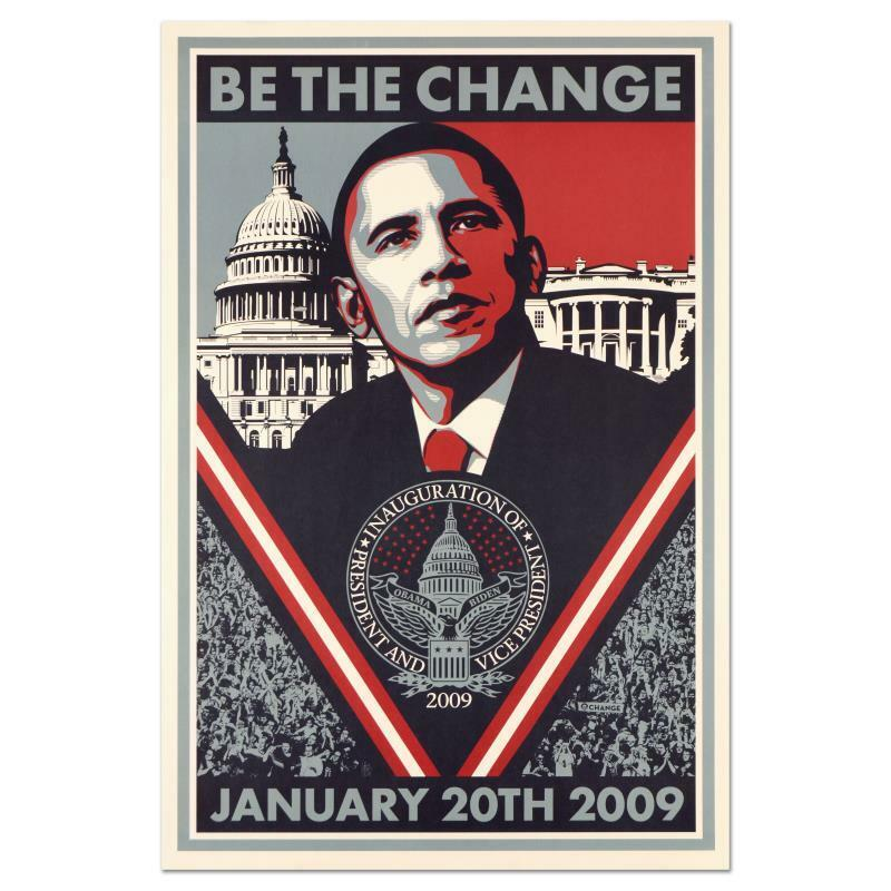 "Shepard Fairey ""Be the Change"" Barack Obama Inauguration Lithograph Poster Art"