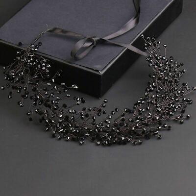 Negro Cuentas de Cristal Tiara Corona con Lazo Diadema Boda Accesorios