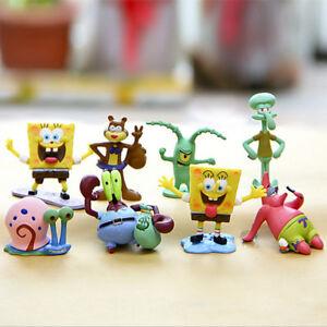 8pcs SpongeBob SquarePants TV Action Figures Cake Toppers Doll Set Kids Toy Gift
