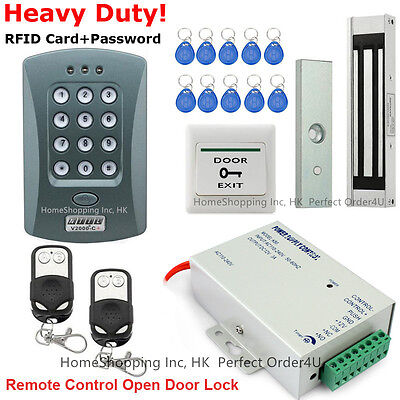 DIY RFID Card+Password Door Access Control System+Magnetic Lock+2Remote Controls