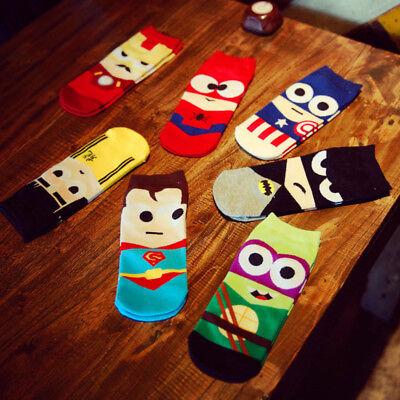 Batman Socks (Men Marvel Heros Boat Socks Superman Batman Captain Funny Cotton Happy)
