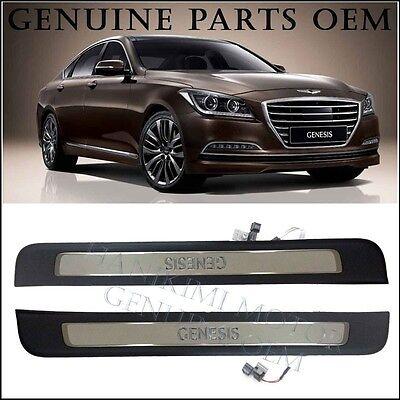 2015-2016 Hyundai GENESIS Blue White LED Door Step Scuff Plate Front Door 2PCS