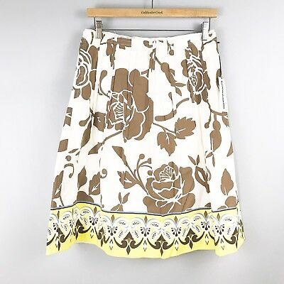 NWT BONNIE & NORMA Rose Floral A-Line Skirt SZ 6 Pleated Anthro White $128