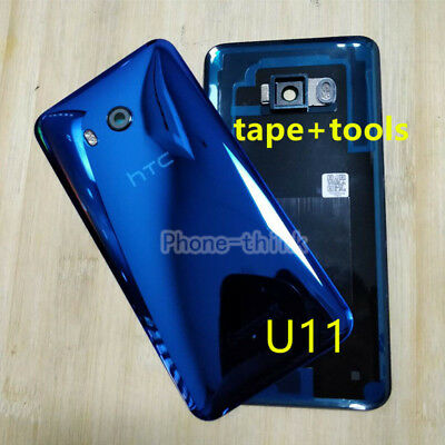 HTC U11 Real Glass Battery Back Cover Door Camera Lens Housing Replacement Blue ()