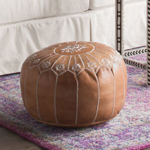 Leather Pouf, Handmade Moroccan