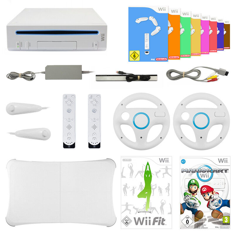 Wii GigaSet - Konsole + Remote + Lenkrad + Mario Kart + Wii Fit + 9 Spiele