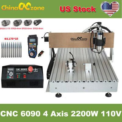 Cnc 6090 4axis 2200w Router Milling Engraver Machine Mach 3 Usb Diy Cnc Machine