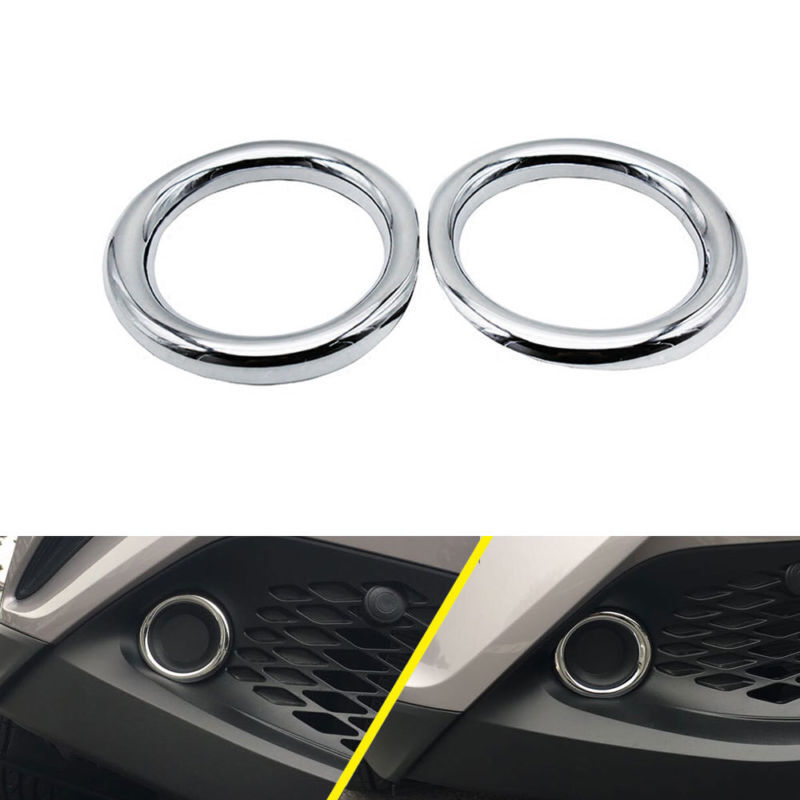 2x Chrome Front Fog Light Lamp Cover Trim Ring fit for Toyota C-HR CHR 2016-2018