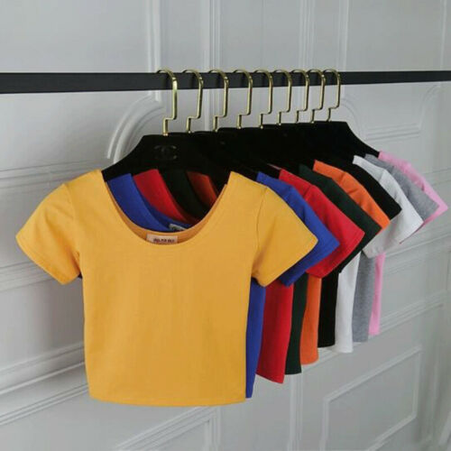 Short sleeve Basic T-shirt Crop Tops Women Slim Fit Tight Te