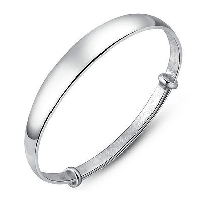 New Women Jewelry 925 Sterling Silver Plated Charm Wedding Bracelet Bangle Gift
