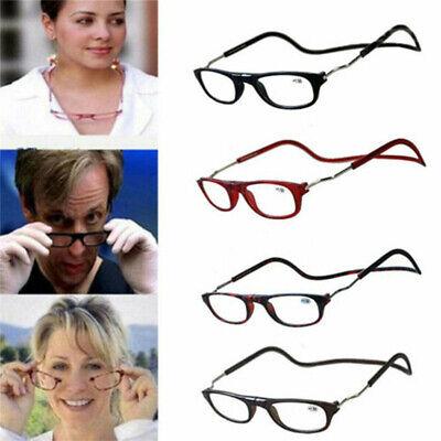 Magnetic Reading Glasses Hanging Neck Snap Click Men Women Folding 1.0 to 4.0