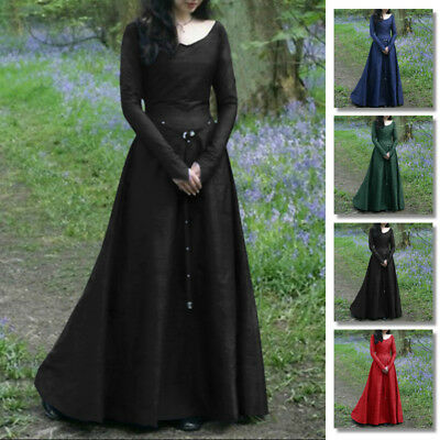 Women Renaissance Medieval Maxi Dress Retro Gown Halloween Costume Kimono Abaya (Retro Halloween Costume)