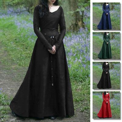 Women Renaissance Medieval Maxi Dress Retro Gown Halloween Costume Kimono Abaya