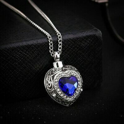 Blue Crystal Heart Cremation Ashes Urn Necklace Keepsake Jewellery Funeral