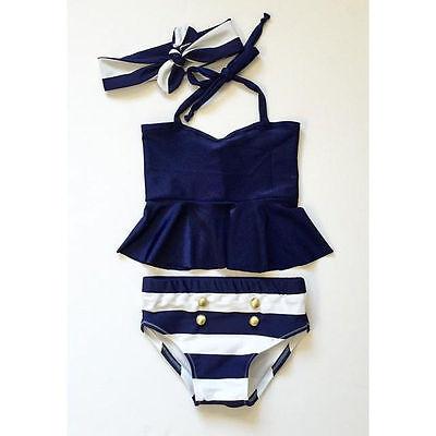 3Pcs Kids Baby Girls Bikini Set Navy Bathing Swimsuit Swimwear Swimming - Swim Suit Girls