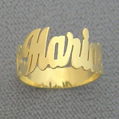 Solid 10k Gold Personalized Name Ring Side Hearts Diamond Cut Fine Jewelry NR01 10k Personalized Name Ring