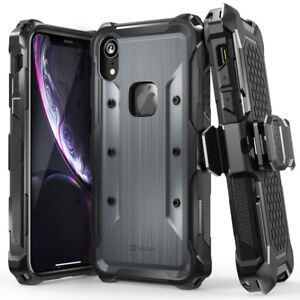 iPhone XR Case Rugged Holster Case (Space Gray/Black)