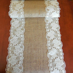 3 - HOMEMADE BURLAP AND LACE TABLE RUNNERS-$15