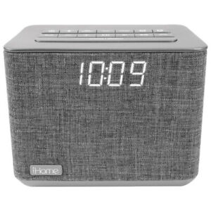 iHome iBT232 Bluetooth Dual Alarm FM Radio Clock - Grey