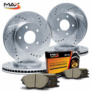 *FREE SHIPPING* Rust Free Slotted & Drilled Brake Rotors & Pad !