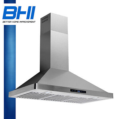 """36"""" Stainless Steel Stove Wall Mount Range Hood Led Touch Panel Control CFM"""