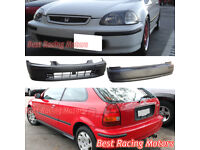 SIR-Style Rear Bumper Cover With Molding Fits 96-00 Honda Civic 3dr Hatchback