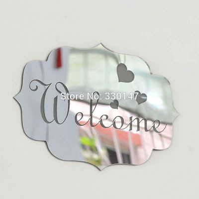 (Removable 3D Mirror Acrylic Wall Sticker DIY Welcome Sign Decal Home Room Decor)