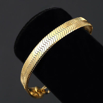 Mens 14K Yellow Gold Plated 8in Herringbone Link Bracelet 7 MM