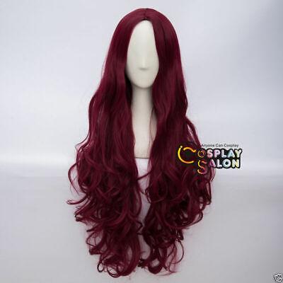 Lolita Sexy Cosplay Wig 80cm Dunkel Rote Gelockte Perücke Halloween Lang Haar ()