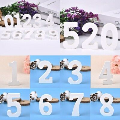 Diy Wooden Table ( White Wooden Numbers 0-9 Table Number DIY Craft Wedding Birthday Home)