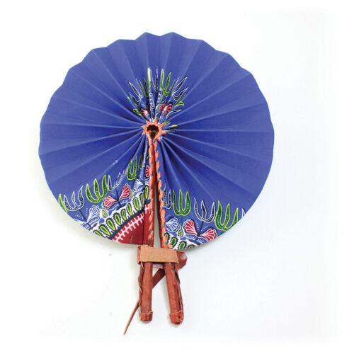 Traditional Blue African Leather Folding Fan | Wedding Hand Fan