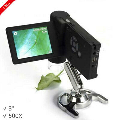 500x Handheld Digital Microscope 3inch Lcd Portable Magnifier Usbav Output