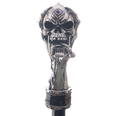 Swaggering Cane / Decorative Walking Stick With Silver Skull Top, Gothic