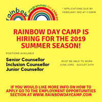 Rainbow Day Camp is Hiring!