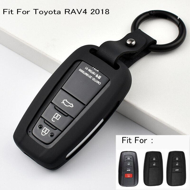 Black+Blue BAR Autotech Remote Key Silicone Rubber Keyless Entry Shell Case Fob and Key Skin Cover 4 Buttons Fit For 2018 Toyota Camry C-HR Prius