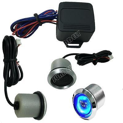 Car BLUE LED 12V ILLUMINATE Engine Button Starter Power Switch Push Start UK