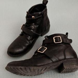 Ankle Black Leather Boots