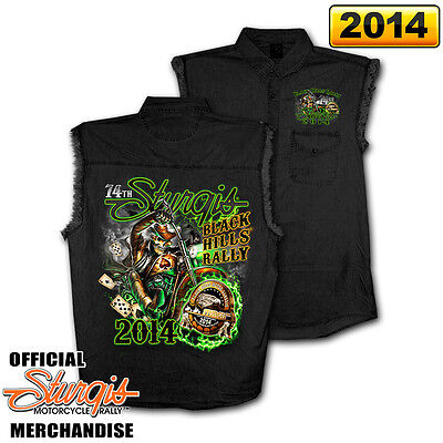 2014 Sturgis Motorcycle Rally Wild Bill Black Sleeveless Denim Shirt