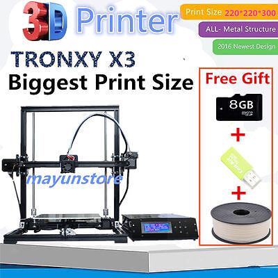 US Easy-Assemble TRONXY X3 Large Aluminum DIY 3D Printer&LCD&1 Roll Filament EW