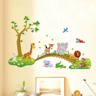 3D Cartoon Jungle Wild Animal Tree Bridge Wall Sticker Kid's Room Childish-Decal
