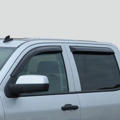 OEM NEW Front Rear Window Deflector Rain Guard Smoke Silverado Sierra Crew Cab