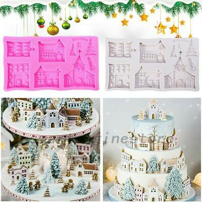 Christmas Tree House Silicone Cake Mold Mould Fondant Molds Baking Decorating US Christmas Tree Cake Molds