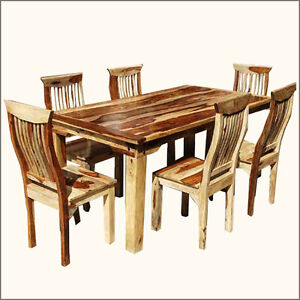 about contemporary 7 pc dining table chairs set solid wood furniture