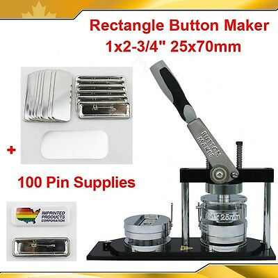 HOT SALE ASC365 Rectangle 25x70mm kit N4 Badge Button Maker +100 Pin Supplies