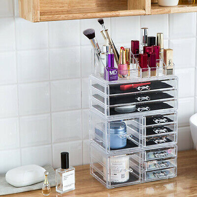 11 Draws Make up Clear Acrylic Tower Organizer Cosmetic Jewelry Storage Cabinet
