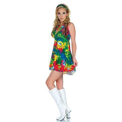 Sexy Hippie 1960s Tie-Dye Women's Mini Skirt Dress Halloween Costume Large L NEW](Halloween 1960 Costumes)