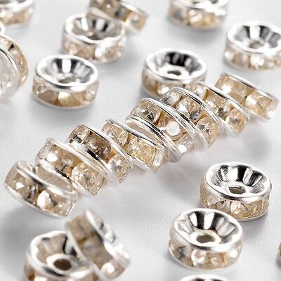 8MM PREMIUM QUALITY GRADE A RHINESTONE RONDELLE SPACER BEADS JEWELLERY MAKING