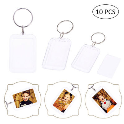 10 Pack Clear Acrylic Blank Photo Picture Frame with Key Ring Keychain Gift