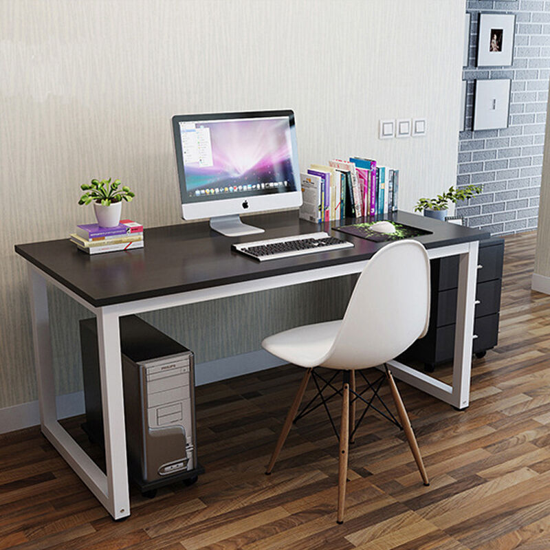 Computer Desk Pc Table Home Office Black White Wood Metal