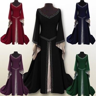 Female Medieval Costumes (Vintage Female Long Sleeve Medieval Renaissance Long Dress Cosplay Costumes)